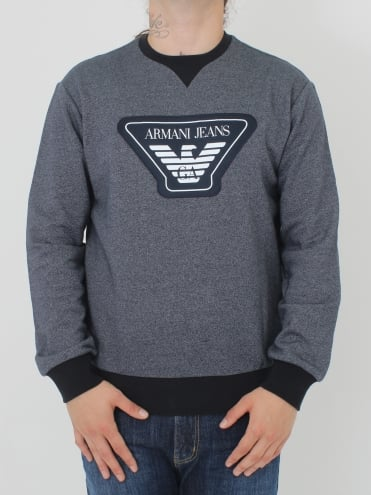 Oversized Logo Crew Neck Sweat - Navy