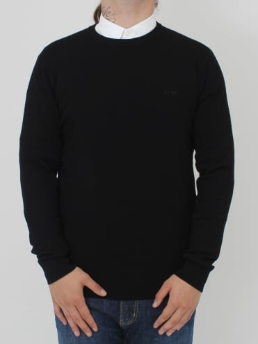 Tonal Logo Crew Neck Knit - Black