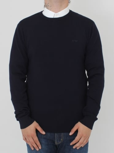 Tonal Logo Crew Neck Knit - Navy