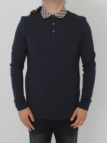 Nathan Club Check L/S Polo - Navy