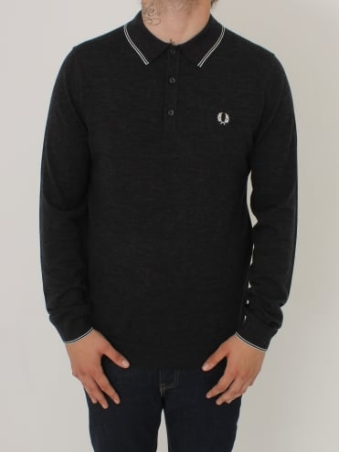 Fine Merino Knitted Polo - Charcoal