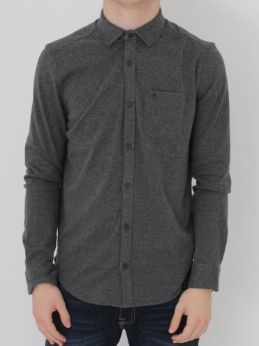 L/S Knitted Nep Shirt - Charcoal