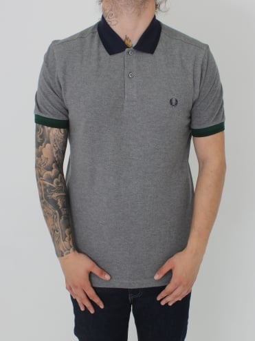 Colour Block Pique Polo - Grey Marle