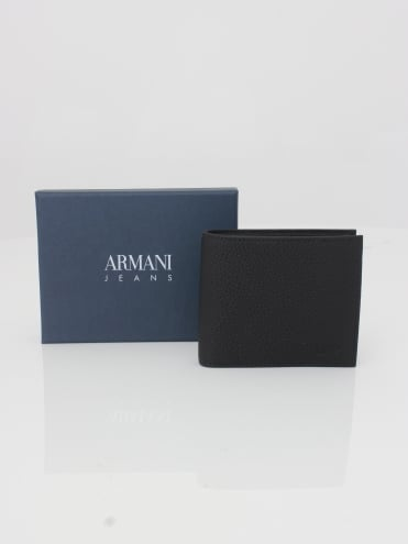 Leather Card And Coin Wallet - Black