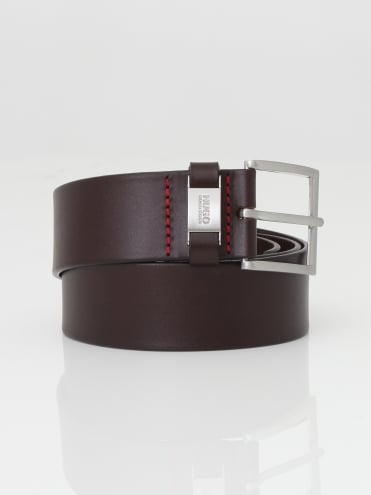- HUGO Connio Leather Belt - Dark Brown