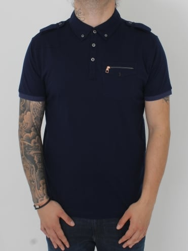 Privates Epaulette Detail Polo - Dark Navy