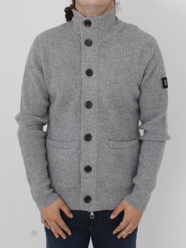 Miltray Funnel Neck Zip Trough Knit - Mid Grey