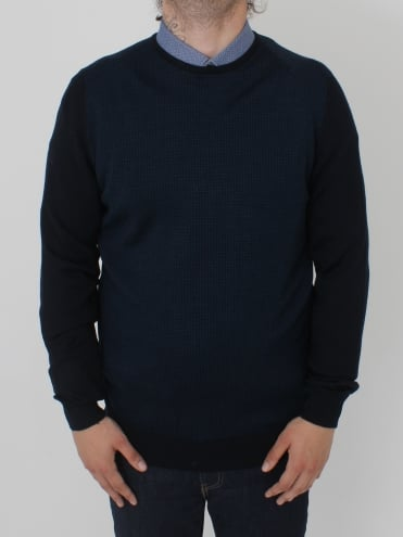 Contrast Sleeve Crew Knit - Blue