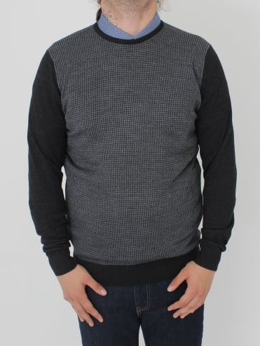 Contrast Sleeve Crew Knit - Grey