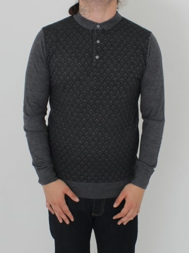 Long Sleeve Knitted Polo - Steel