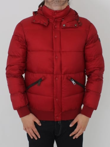 Down Detachable Hood Jacket - Red