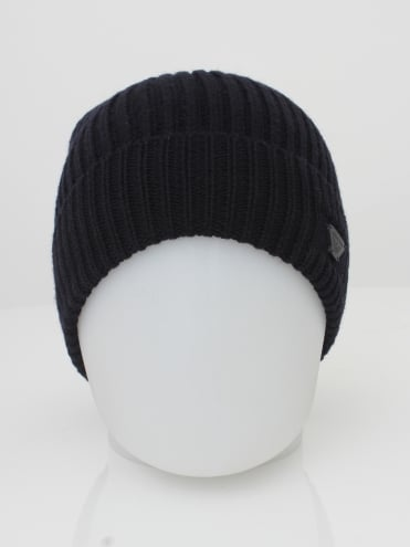 Ribbed Logo Beanie - Black