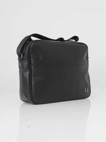 Pique Texture Shoulder Bag - Black