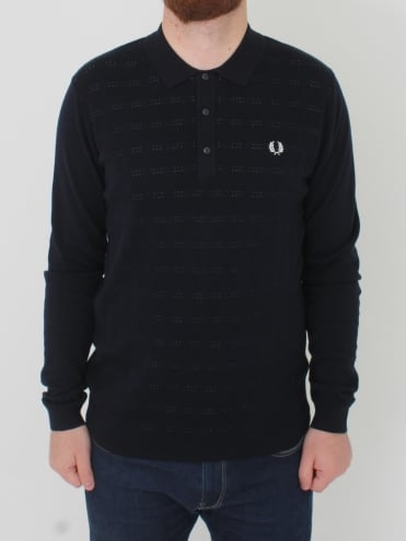 Jaquard Knitted Polo - Navy