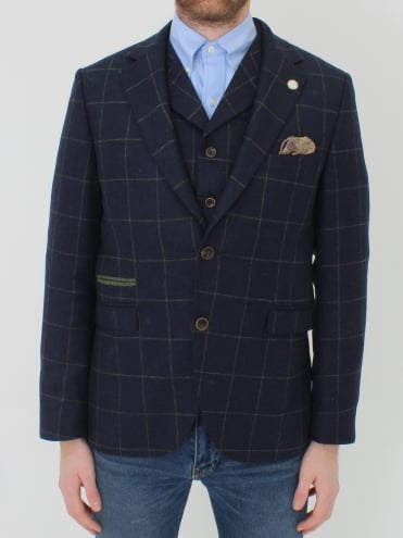 Window Pane Check S/B Jacket - Navy