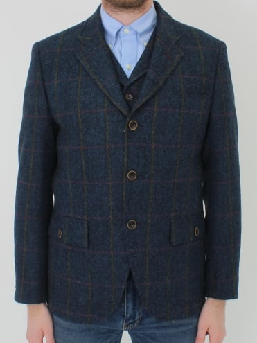 Herringbone Check Jacket - Navy