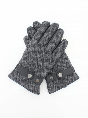 Harris Tweed and Leather Gloves - Grey