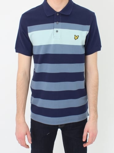 Textured Stripe Polo - Navy