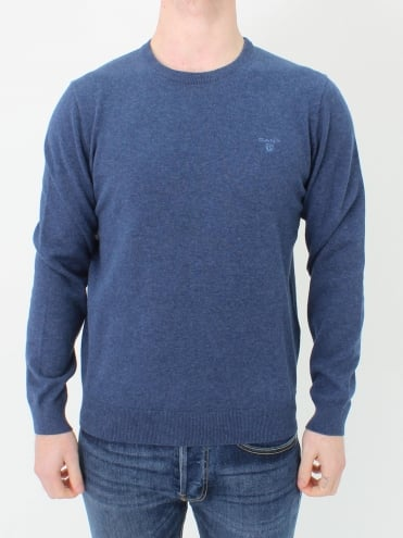 Cotton Crew Neck Knit - Blue Melange