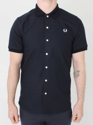 Knitted Collar Oxford Shirt - Navy