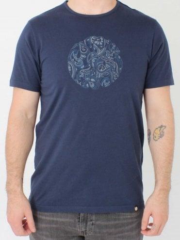 f0c2f48764a Paisley Print Logo T-Shirt - Navy · Pretty Green ...