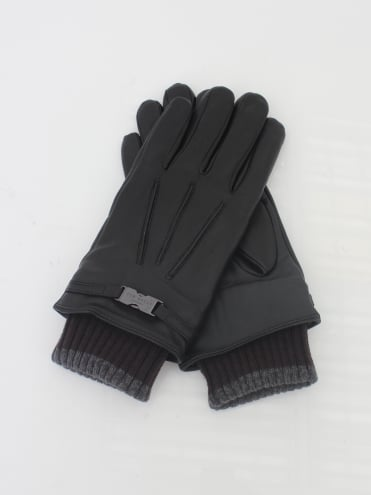 Quiff Cuff Leather Glove - Black