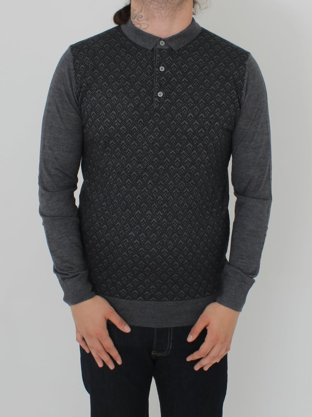 242908bea Remus Uomo Long Sleeve Knitted Polo in Steel - Northern Threads
