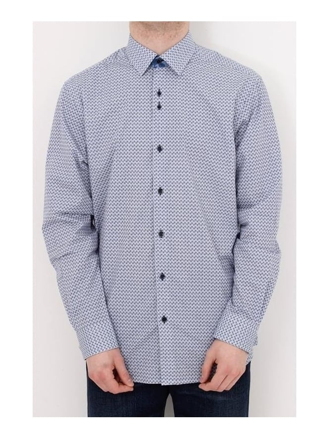 Remus Uomo Parker Tapered Pattern Shirt - Blue And White