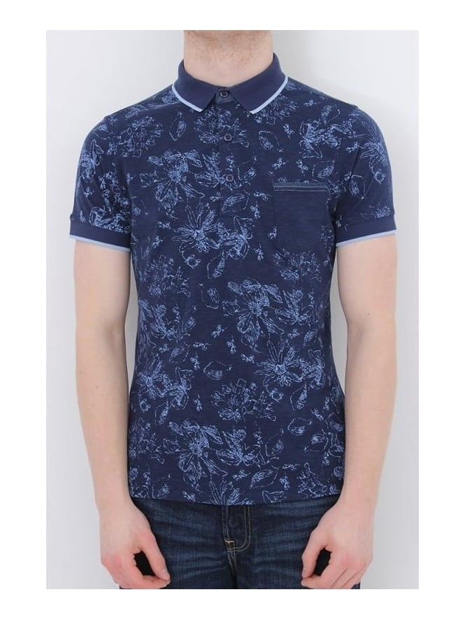 Remus Uomo Solid Collar Printed Polo - Navy