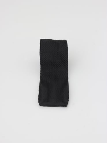 Solid Knitted Tie - Black