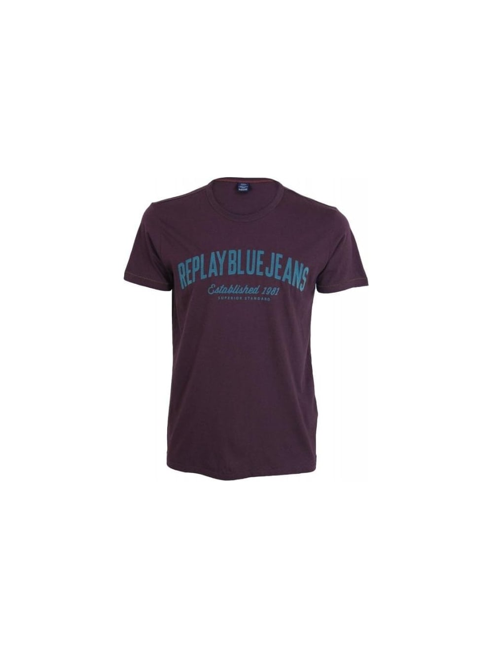 0d2987ac45 Replay Established 1981 T.Shirt in Maroon - Northern Threads
