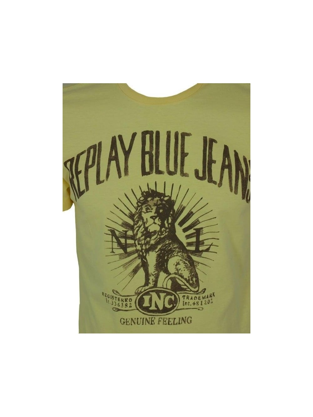 4183e973 Replay Lion Print T Shirt in Lemon - Shop Replay at Northern Threads