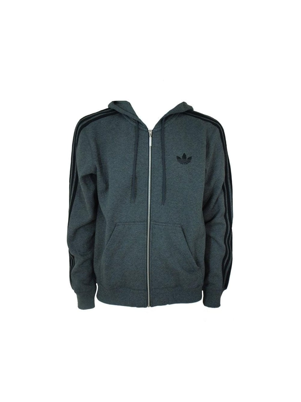 Adidas Spo Hooded Flock Jacket in Dark Grey - Northern Threads