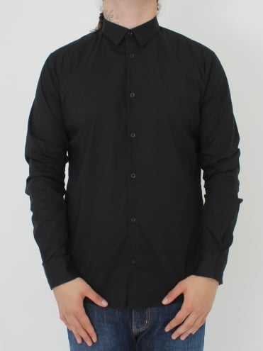 Stretch Poplin Slim Fit Shirt - Black