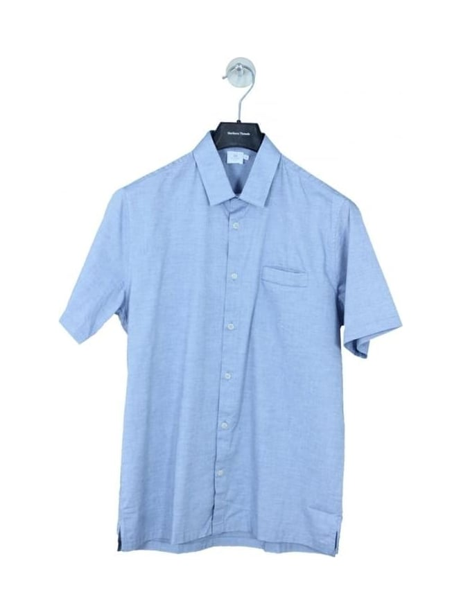 Sunspel Italian Cotton Oxford Cotton Shirt - Blue Melange
