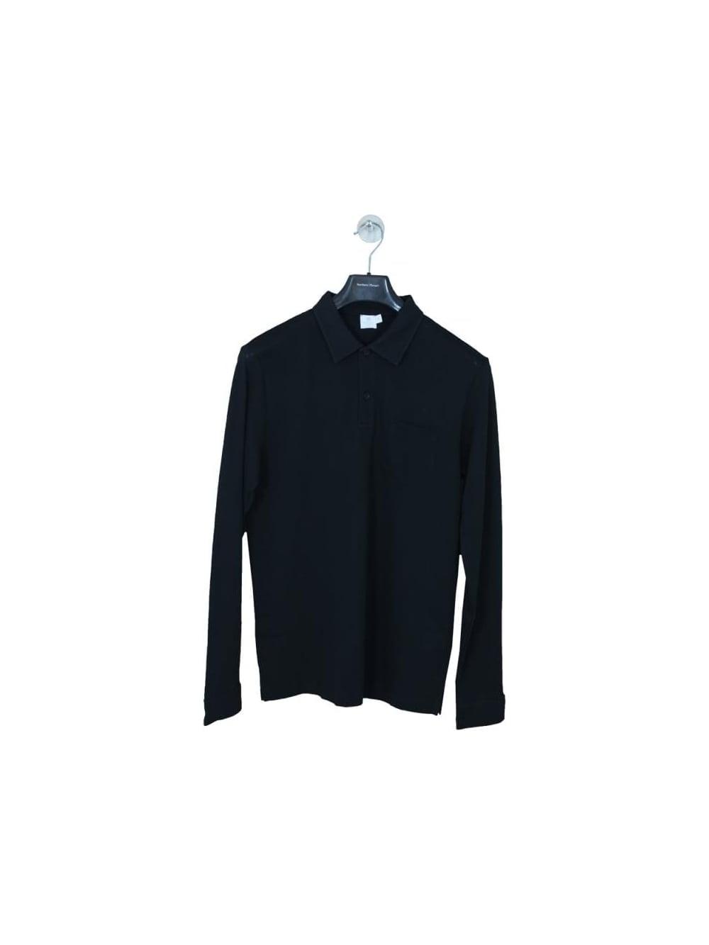 95788f0b32ec Sunspel Long Sleeve Riviera Polo in Black - Northern Threads