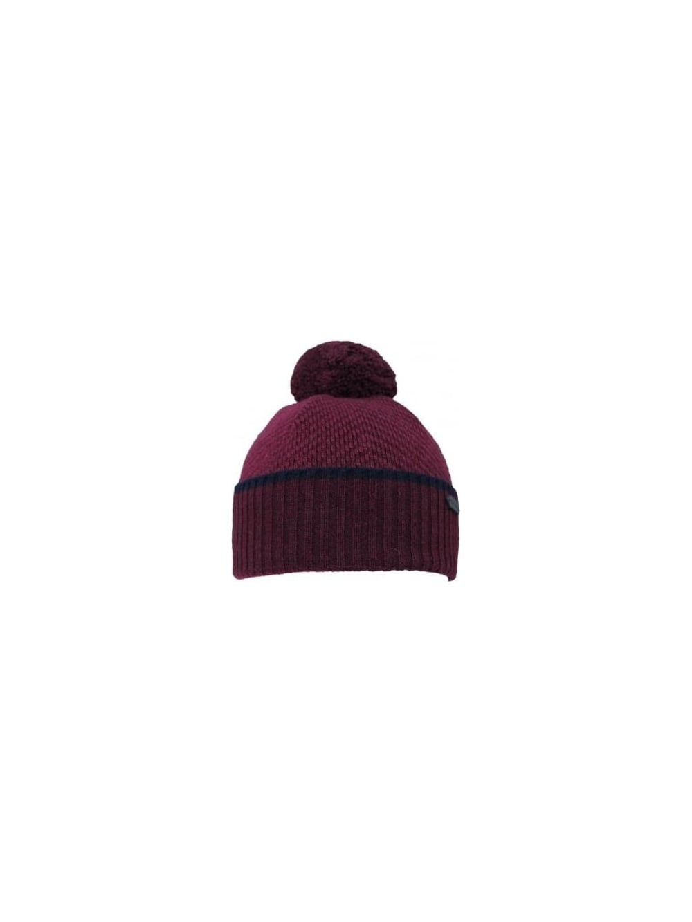 Ted Baker Archat Twill Knit Bobble Hat in Dark Red - Northern Threads 2efd05ab584