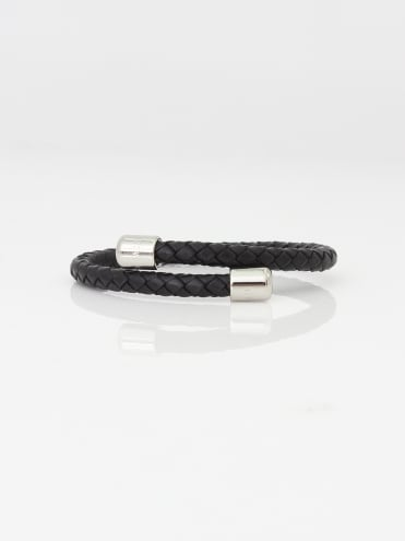 Bassett Leather Braid Bangle - Black