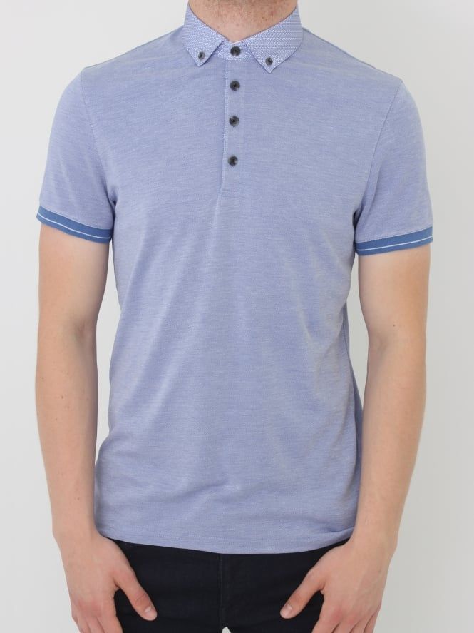 Ted Baker Branin Woven Collar Polo - Blue