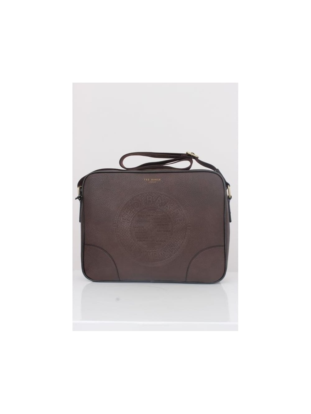 1a94d5546b Ted Baker Donboss Embossed Messenger Bag in Chocolate - Northern Threads