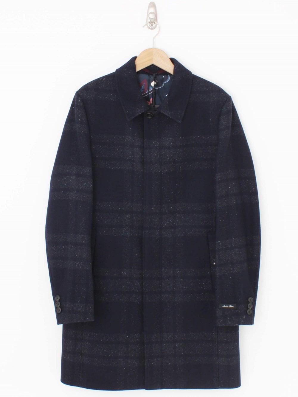 Dudno Oversized Check Overcoat Navy