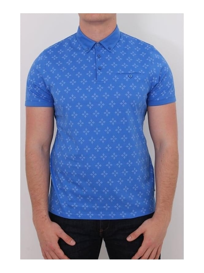 Ted Baker Fella Diamond Print Polo - Blue
