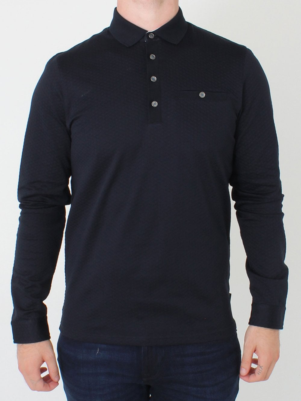eb0925e1c Ted Baker Fruitpa Textured Polo in Navy | Northern Threads