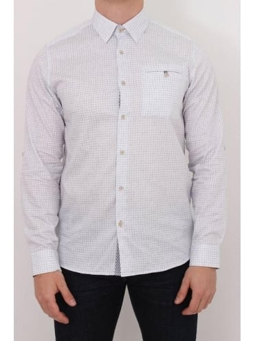 Lolli Faded Print Check Shirt - White