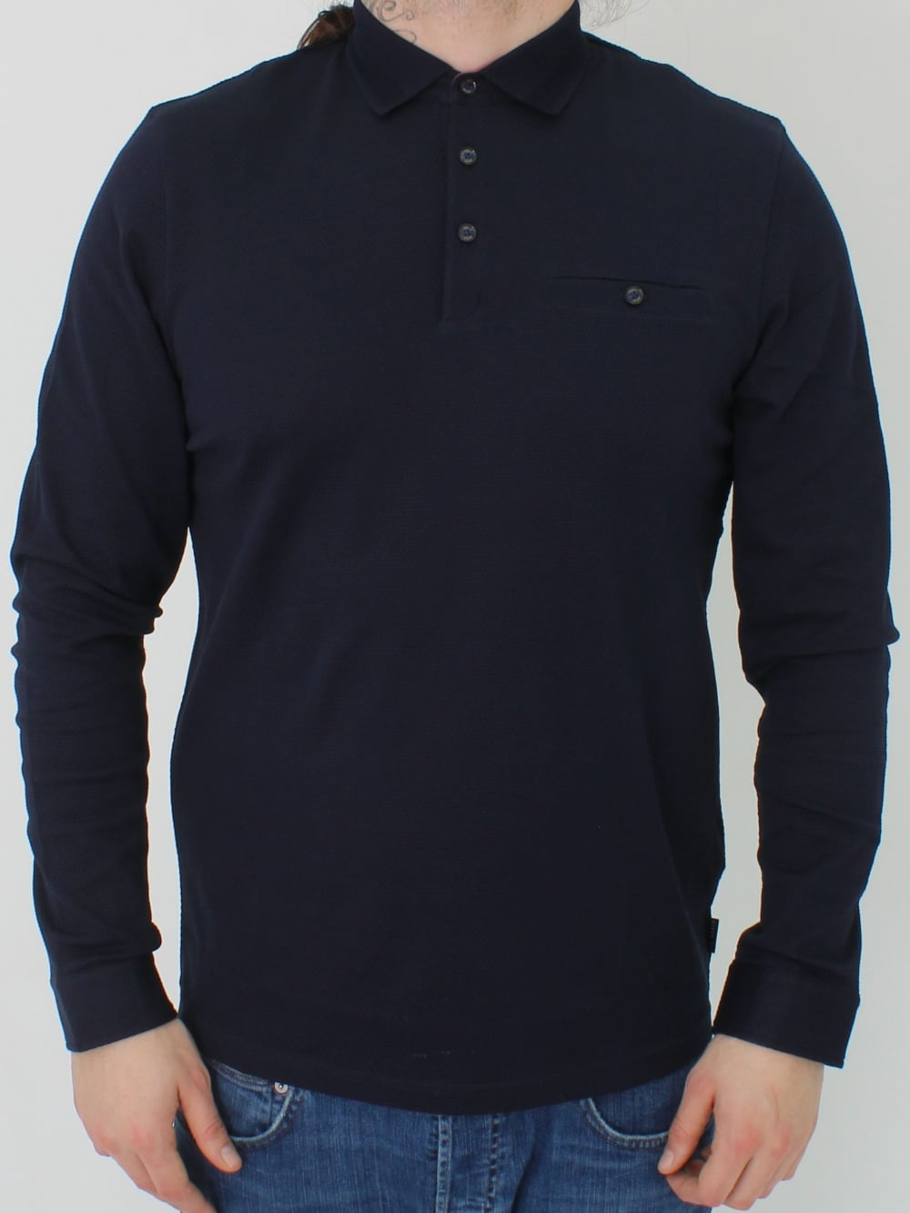 3f2f9545a Ted Baker Scooby L S Textured Polo in Navy - Northern Threads