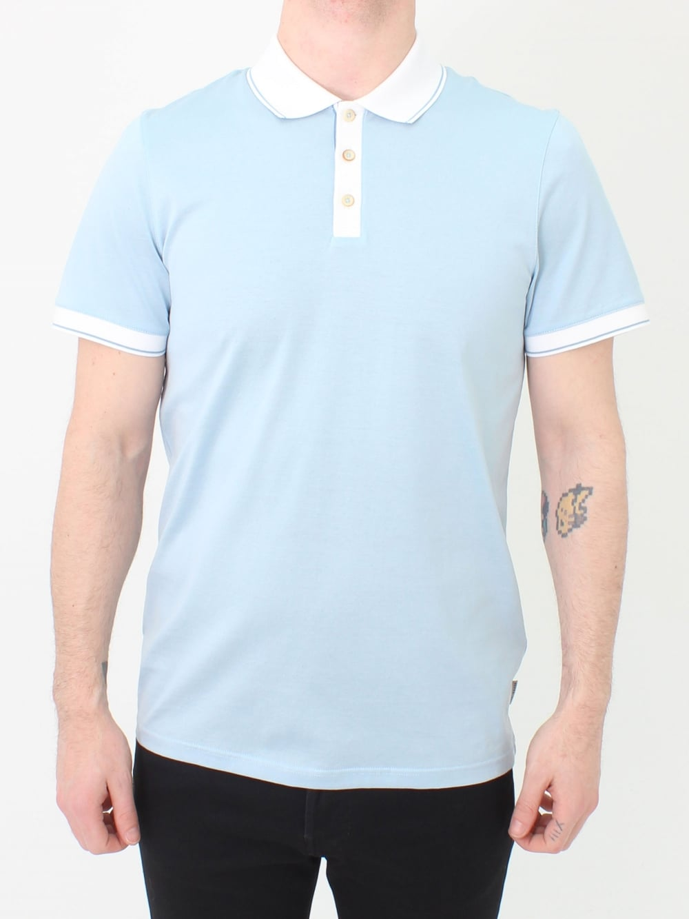 c833b27886f4ac Ted Baker Staffy Contrast Collar Polo in Light Blue