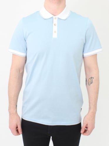 Staffy Contrast Collar Polo - Light Blue