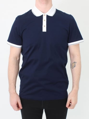 Staffy Contrast Collar Polo - Navy