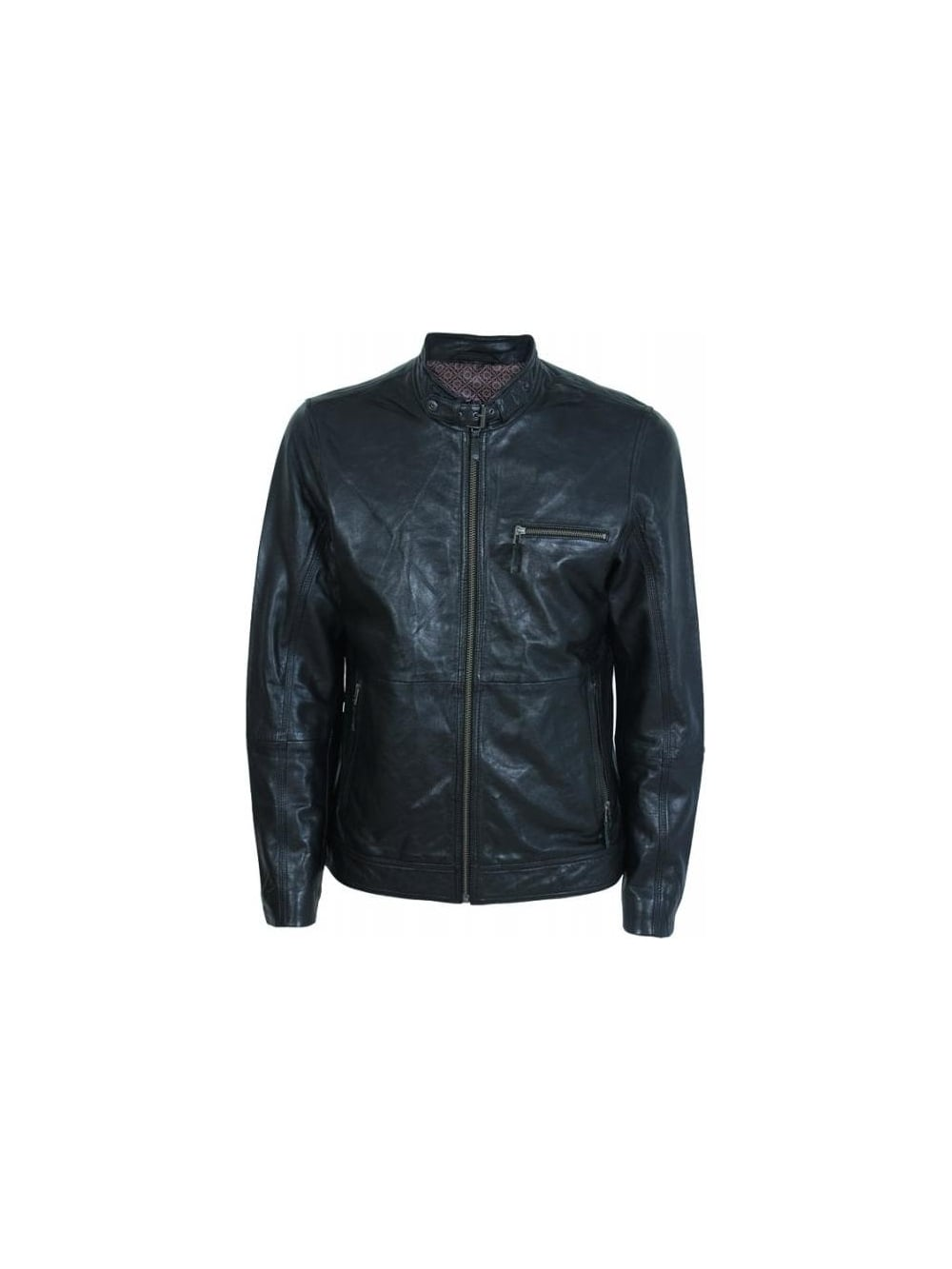 31642595f Ted Baker Visery 3 Pocket Leather Jacket in Black - Northern Threads