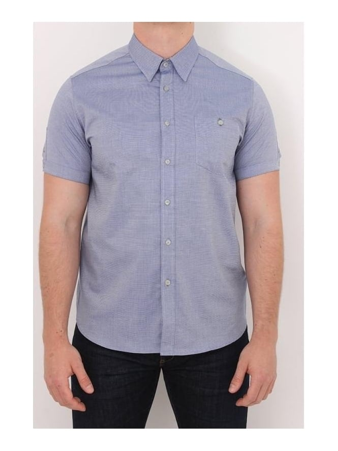Ted Baker Wooey S/S Textured Shirt - Blue